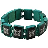 FREAK SCENE Wooden Bracelet Different Motifs And Colors - Wooden, Wood, Butterfly - mint green