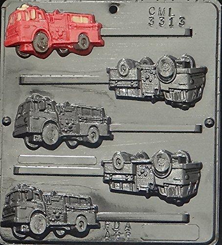 Fire Truck Lollipop Chocolate Candy Mold 3313