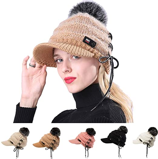 FRCOLT Women Winter Cap String Decor Ear Protector Slouchy Hairball Hat  Flat Caps (2226 cm a2fb09f71a5f