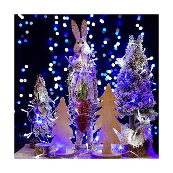 Catena Luminosa WISD Cavo Trasparente Stringa Luci Con 8 Modalità, Funzione Di Memoria, Decorativa Da Interni e Esterni, 33M 600 LED Catena Luci Per Casa/Natale/Giardino/Feste (Blu + Bianco) 3 spesavip