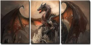 """wall26 - War with The Dragon on Castle - Canvas Art Wall Art -16""""x24""""x3 Panels"""