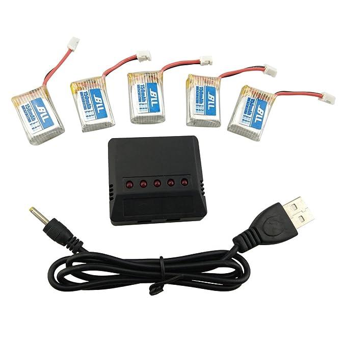 Fytoo 5pcs 3.7V 150mahLitio Batería y 5 en 1 Cargador para JJRC ...