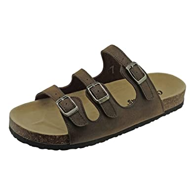 17e57f5b2 OUTWOODS Women s Bork-43 Vegan Leather Adjustable 3-Strap Slip-On Sandals (
