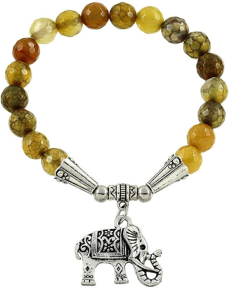Amuleto de elefante de la suerte Falari pulsera de piedra natural.