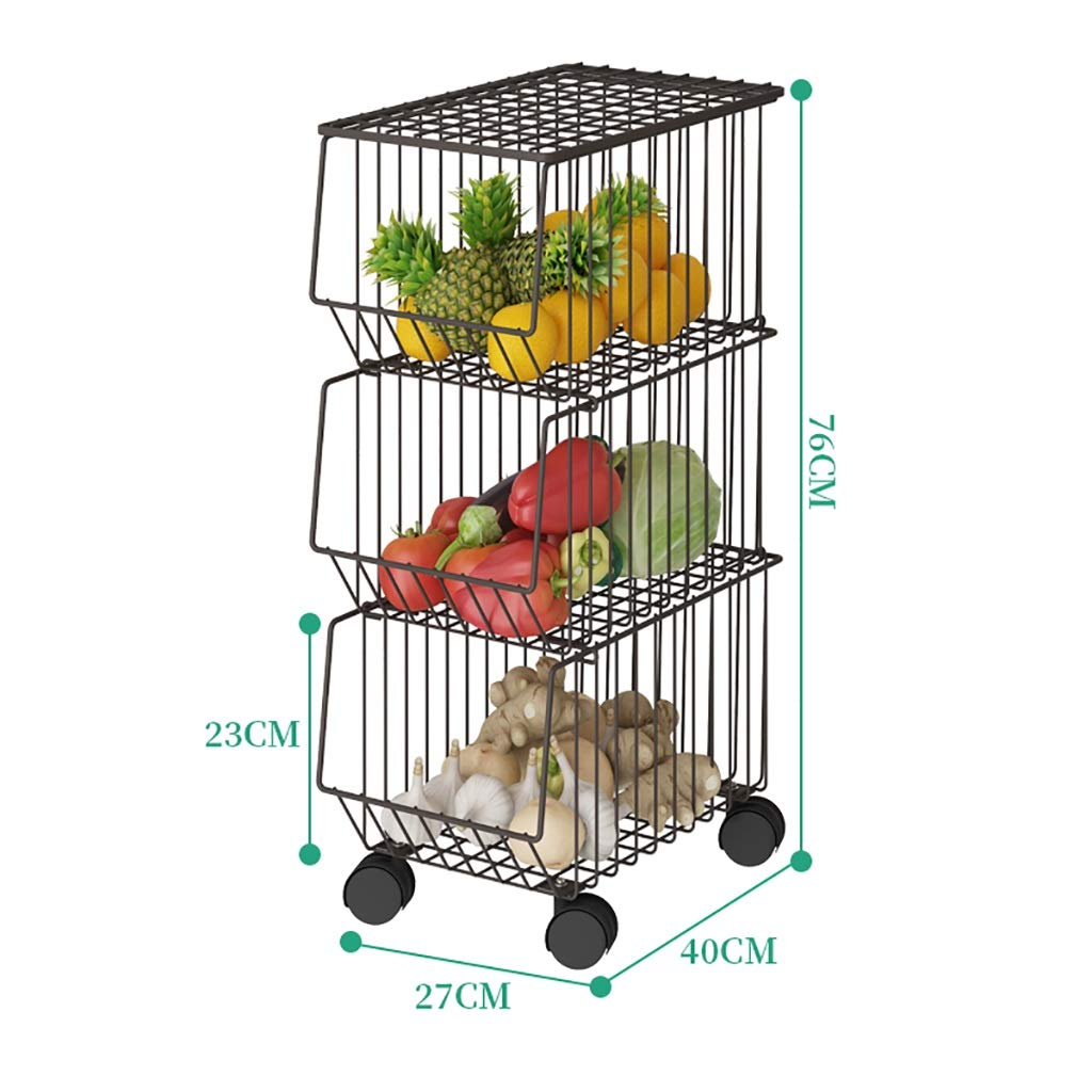 B Shelf Kitchen Narrow Removable Storage Rack Metal Pulley Easy to Move for Kitchen, Bathroom, Balcony, (Size   B)