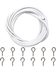 Ucatcher White Curtain Wire with 6 Eye Hooks and 6 Hooks, 5 M