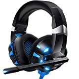 RUNMUS Gaming Headset Xbox One Headset PS4 Headset with Crystal Clear Mic & LED Light, Compatible with PC, PS4, Xbox One…