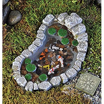 Georgetown Miniature Fairy Garden Koi and Lily Pad Pond Furniture Gnome Figurine Statue Sculpture for Home Terrarium Yard Patio and Lawn Outdoor Decor Supplies Accessories : Garden & Outdoor