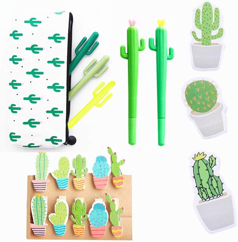 JeVenis - 19 bolígrafos de tinta negra con diseño de cactus y clip de cactus, para oficina, escuela, hogar, regalo