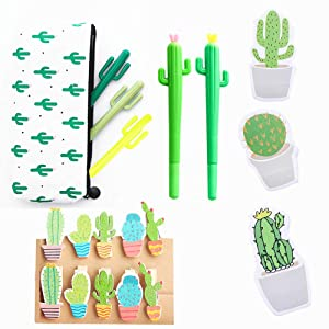 JeVenis 19 Pcs Cactus Ballpoint Pen Cactus Black Ink Writing Pens with Cactus Pencil Pouch Cactus Clip Cactus Notes Sticker for Office School Home Supply Gift