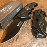 New MTech BALLISTIC Assisted Open BLACK Glass Breaker Belt Cutter Rescue Eco'Gift LIMITED EDITION Knife with Sharp Blade Great For Fun and Practical Use!
