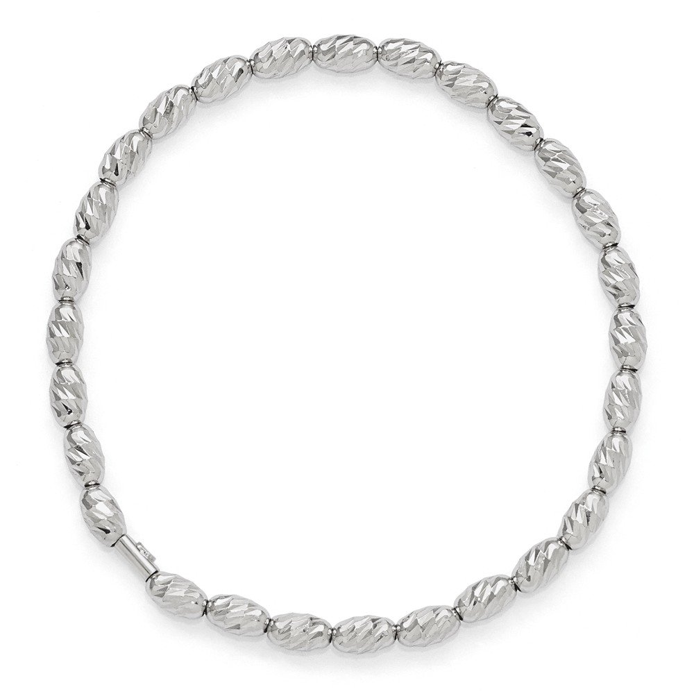 Top 10 Jewelry Gift Leslie's Sterling Silver Polished & D/C Beaded Stretch Bracelet