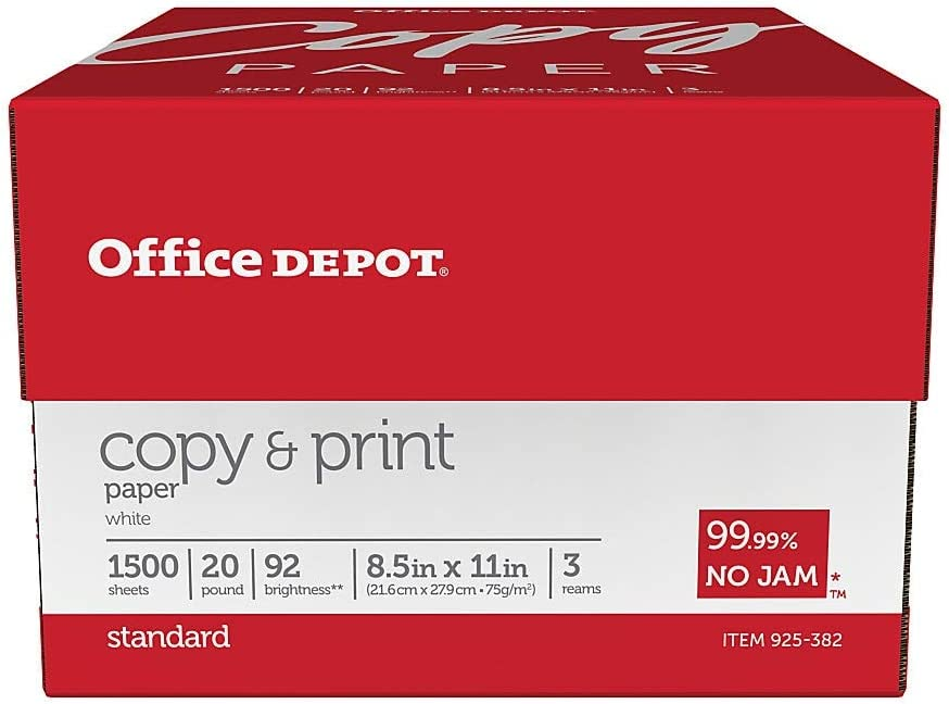 Office Depot Copy Print Paper, 8 1/2in. x 11in, 20 Lb, Bright White, 500 Sheets Per Ream, Case of 3 Reams, 1008