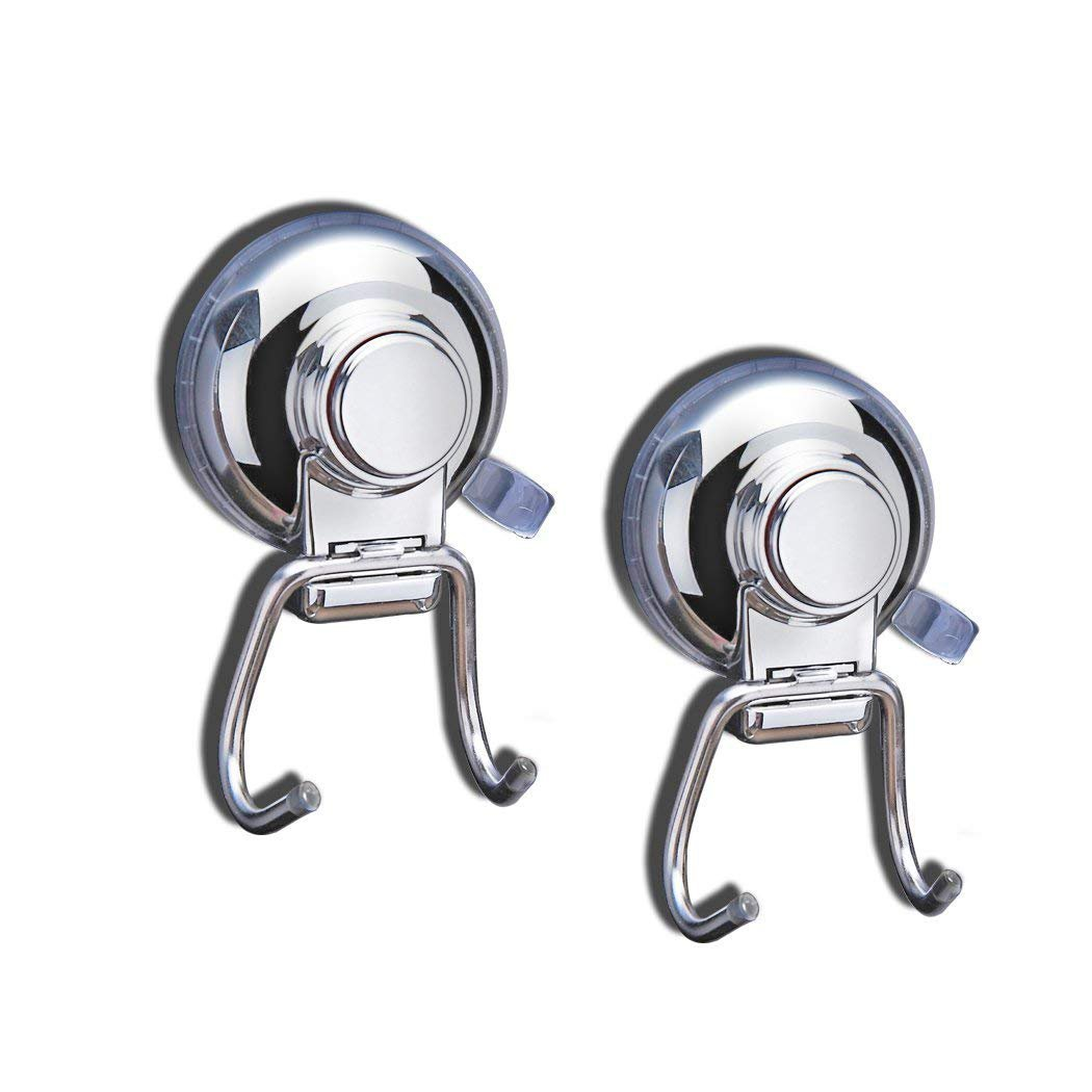 FUNRUI Stainless Steel Suction Cup Hook Removable Sucker Hooks Heavy Duty for Bathroom Shower Towel Kitchen Wall, Chrome - 2 Pack