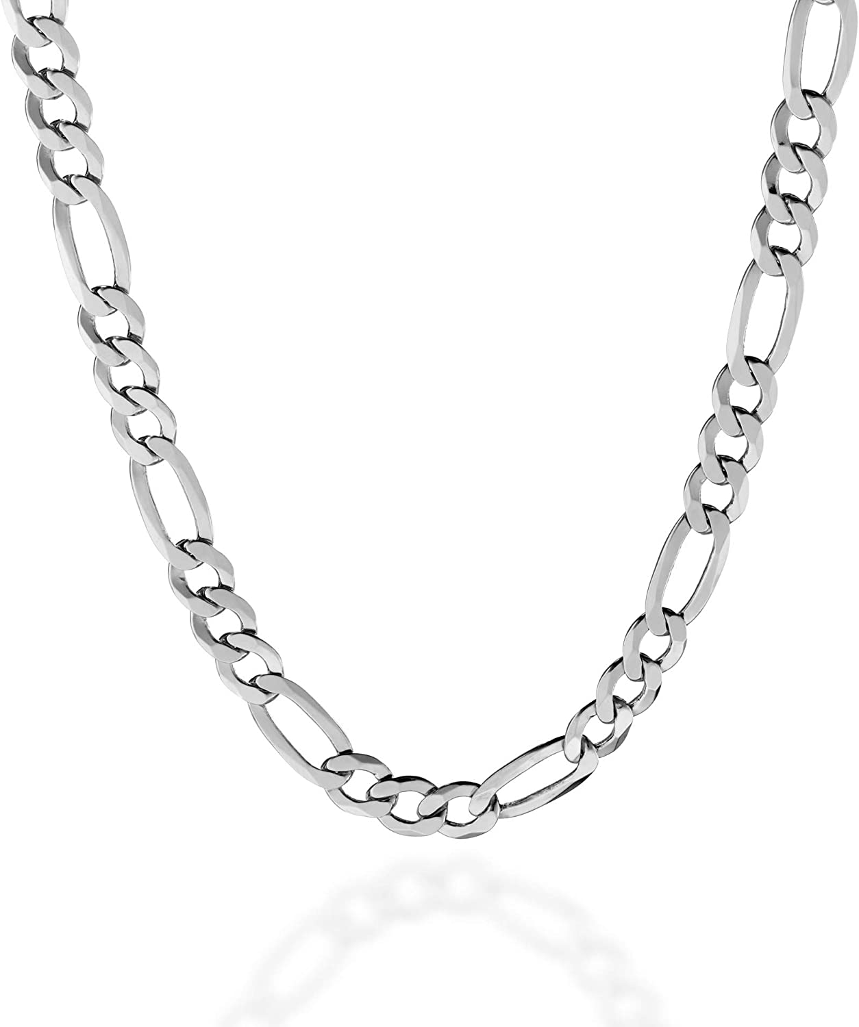 Authentic Vintage 925 7mm Italy Figaro Link Chain Necklace 35 Gr. 22 In