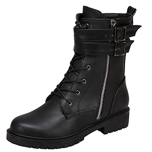 4989610ab85 Vitalo Womens Flat Lace up Ankle Combat Buckle Military Biker Boots with  Zipper  Amazon.ca  Shoes   Handbags