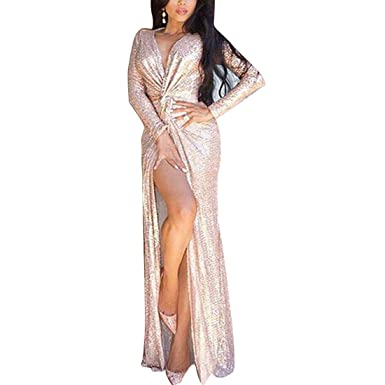 HBOS Women Rose Gold Sequined Bridesmaid Dress Prom Banquet Evening Dresses with Sleeves