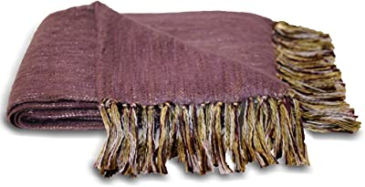 Chiltern Woven Fringed Plum Blanket Throw