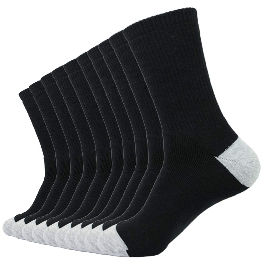 Enerwear 10P Pack Men's Cotton Moisture Wicking Extra Heavy Cushion Crew Socks (10-13/shoe size 6-12, Black) by Enerwear