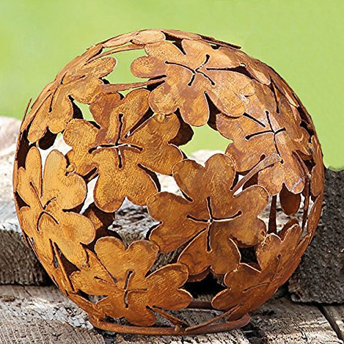 The Boho Chic Flower Power Decorative Garden Ball, Globe, Rusty Iron Finish, 13 3/4 Diameter, Flat Bottom, By Whole House (60s Chic Art)