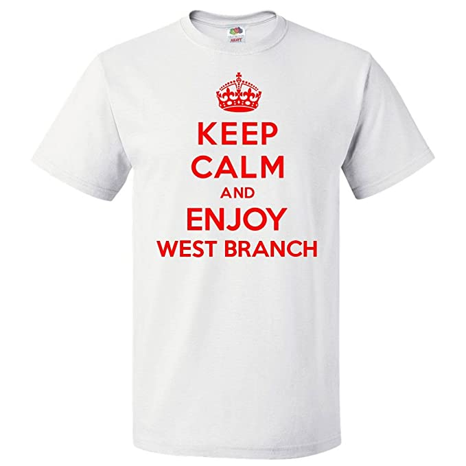 ec7723bf3e5 Amazon.com  ShirtScope Keep Calm and Enjoy West Branch T Shirt Funny ...