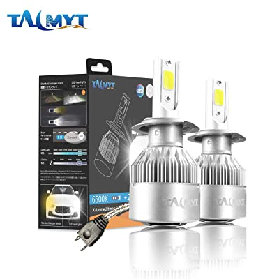 H7 LED Headlight Bulbs, Plug&Play Conversion Kit 6500K Cool White 80w 8000lm CSP LED Chips by TALMYT: Automotive [5Bkhe0416064]