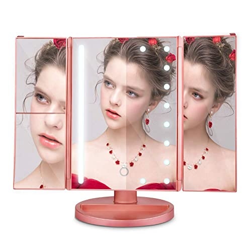Makeup Mirror Vanity Mirror, Portable Tri Fold Makeup Mirror, 2x 3x 10x Magnification,180 Adjustable Rotation, and USB Charging Battery Operated Countertop Cosmetic Mirror Rose Gold