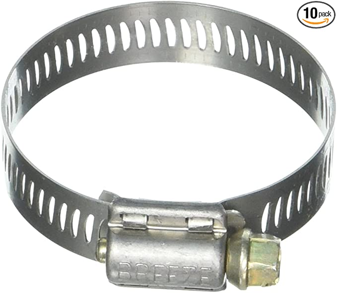 1-9//16-2-1//2 40mm - 64mm 10 Pack Breeze 9432 Aero-Seal Liner Clamps with Stainless Screw Effective Diameter Range