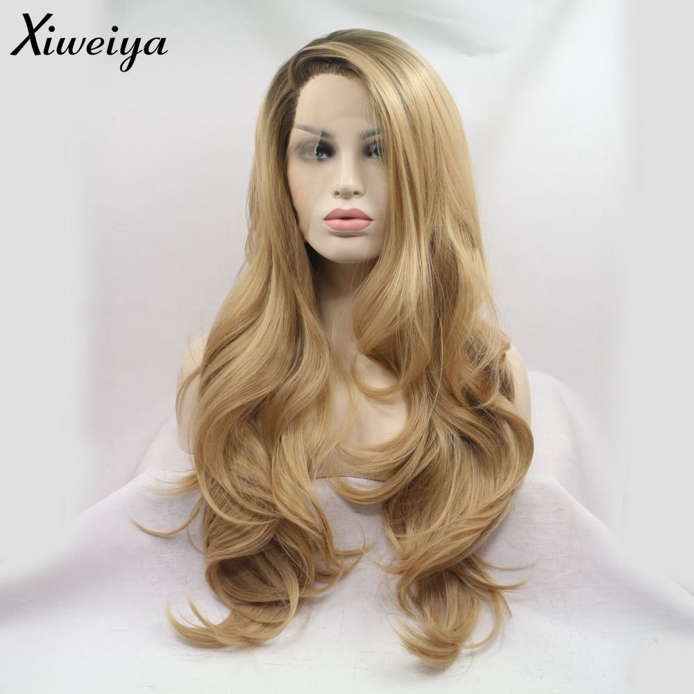 Xiweiya Long Natural Wave Ombre Brown Blonde Synthetic Lace Front Wigs Side Part Heat Resistant Fiber Hair Wigs For Women Replacement Everyday Wigs