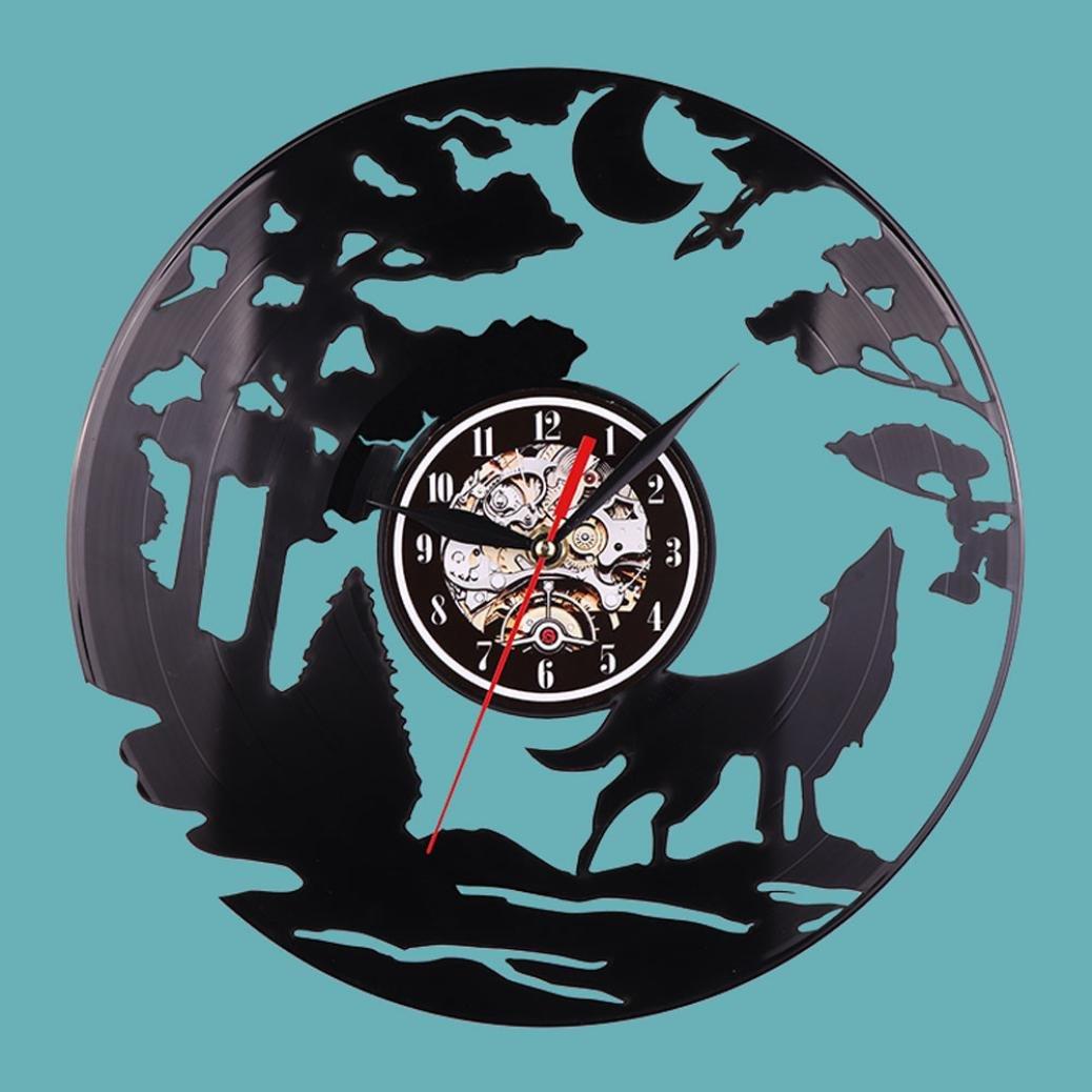 YOYORI Reloj de pared con diseño de lobo de vinilo, diseño vintage: Amazon.es: Juguetes y juegos