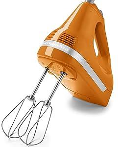 KitchenAid RRKHM9TG Certified Refurbished 9 Speed Hand Mixer, Tangerine