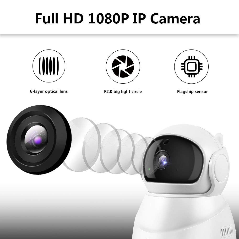 Vanxse 1080P Full HD WiFi IP Camera Wireless Indoor Camera with Night Vision Motion Detection 2-Way Audio Home Security Surveillance Pan//Tilt//Zoom Monitor for Baby//Elder//Pet-PC301
