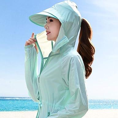 S-Chihir Ropa de protección Solar UV Las Mujeres con Capucha Larga Floja Protector Solar Camisa de Manga Larga de Seda del Hielo de Verano ...