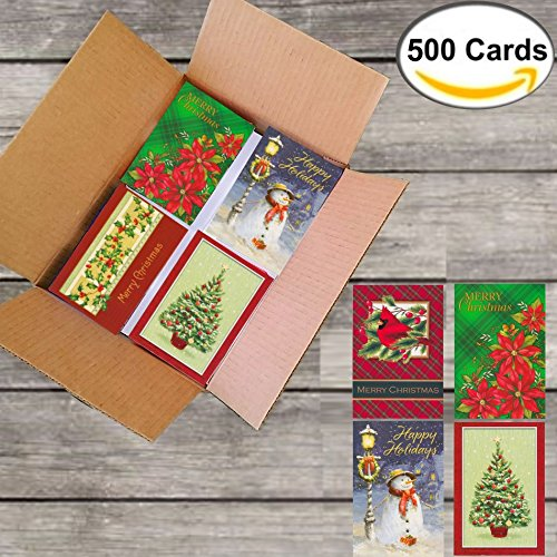 500 Wholesale Christmas Cards with Envelopes: Assortment of Traditional and Adorable Holiday Designs, General Audience, on Recycled Paper (5 Designs x 100 Cards: Classic Nostalgia Themes) by Expo_Plus