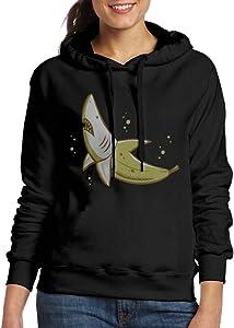 Curcy BANANA SHARK Hoodie Hooded Sweatshirt WomensSchool Black