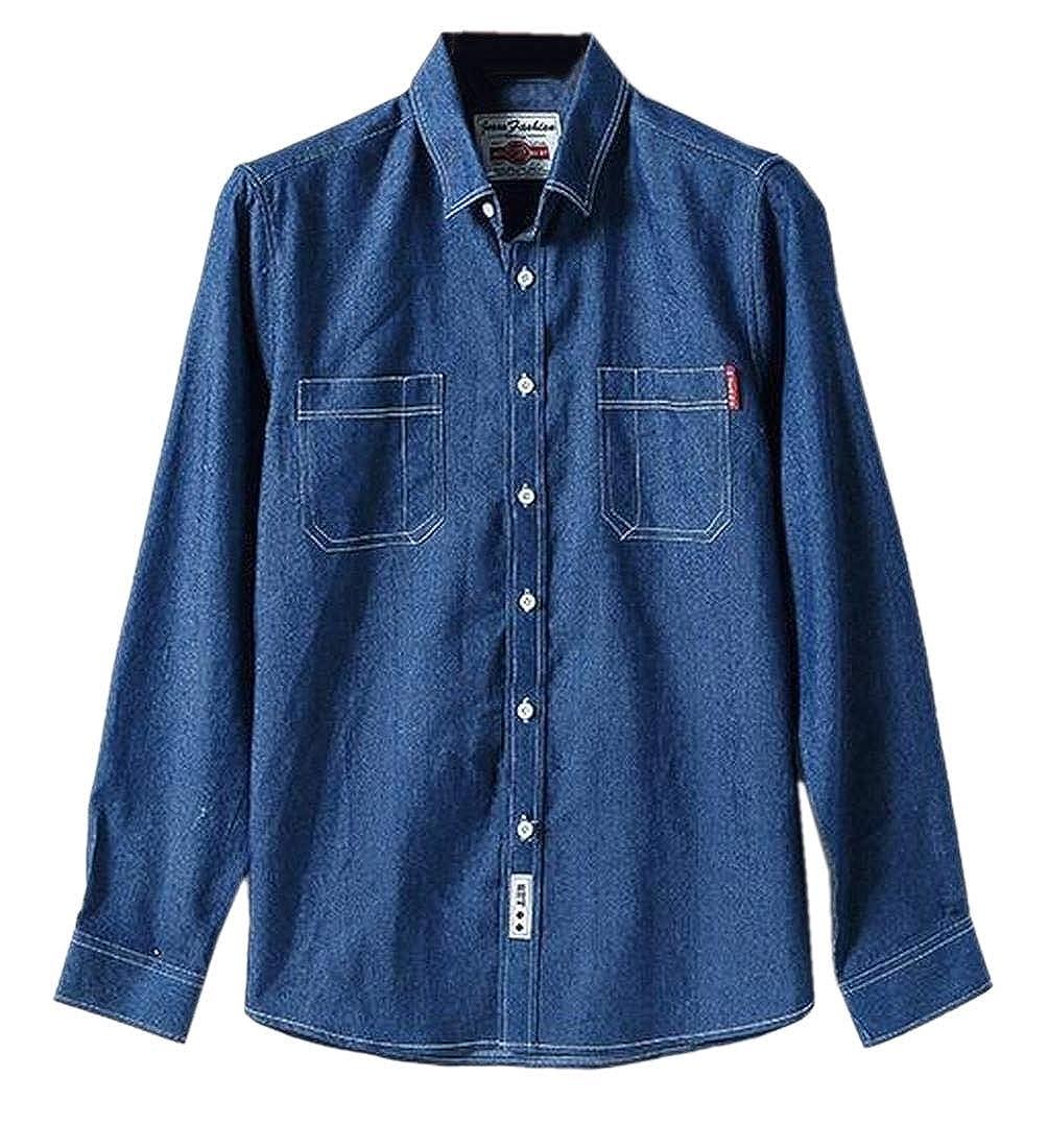 YIhujiuben Mens Cowboy Casual Slim Fit Long Sleeve Denim Work Shirt