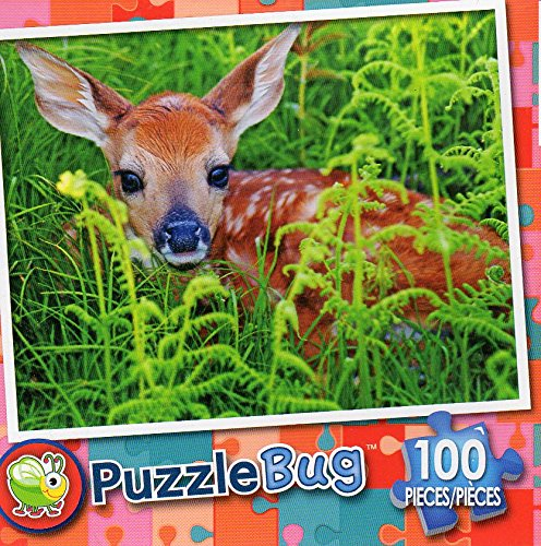 Newborn Whitetail Fawn - PuzzleBug - 100 Piece Jigsaw Puzzle (Fawn Whitetail)