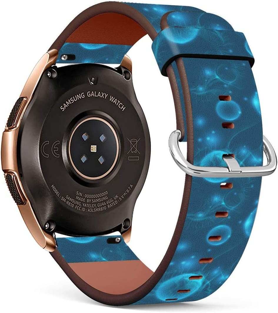 Amazon Com Compatible With Samsung Galaxy Watch3 41mm Galaxy Watch 42mm Glow Blue Cosmos Abstract Background Pu Leather Band Replacement Standard 20mm Straps Sports Outdoors