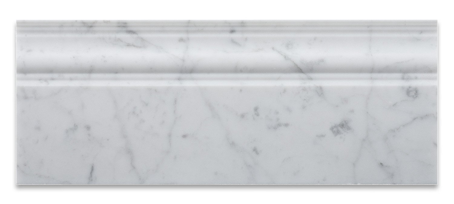 Italian Carrara White Marble Honed 5 X 12 Baseboard - Box of 5 Pcs. by Oracle Moldings (Image #2)
