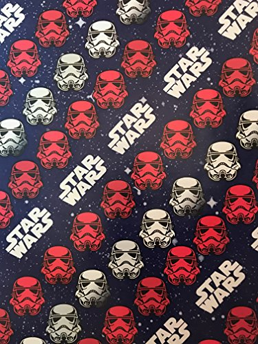 Space Related Halloween Costumes (Disney Star Wars Christmas Wrapping Paper- Star Wars Wrapping Paper - Featuring: DARTH VADER, BB8, STORM TROOPERS, CHEWBACCA, R2D2 - 1 Roll (Red White Blue Star Wars (40sqft)))