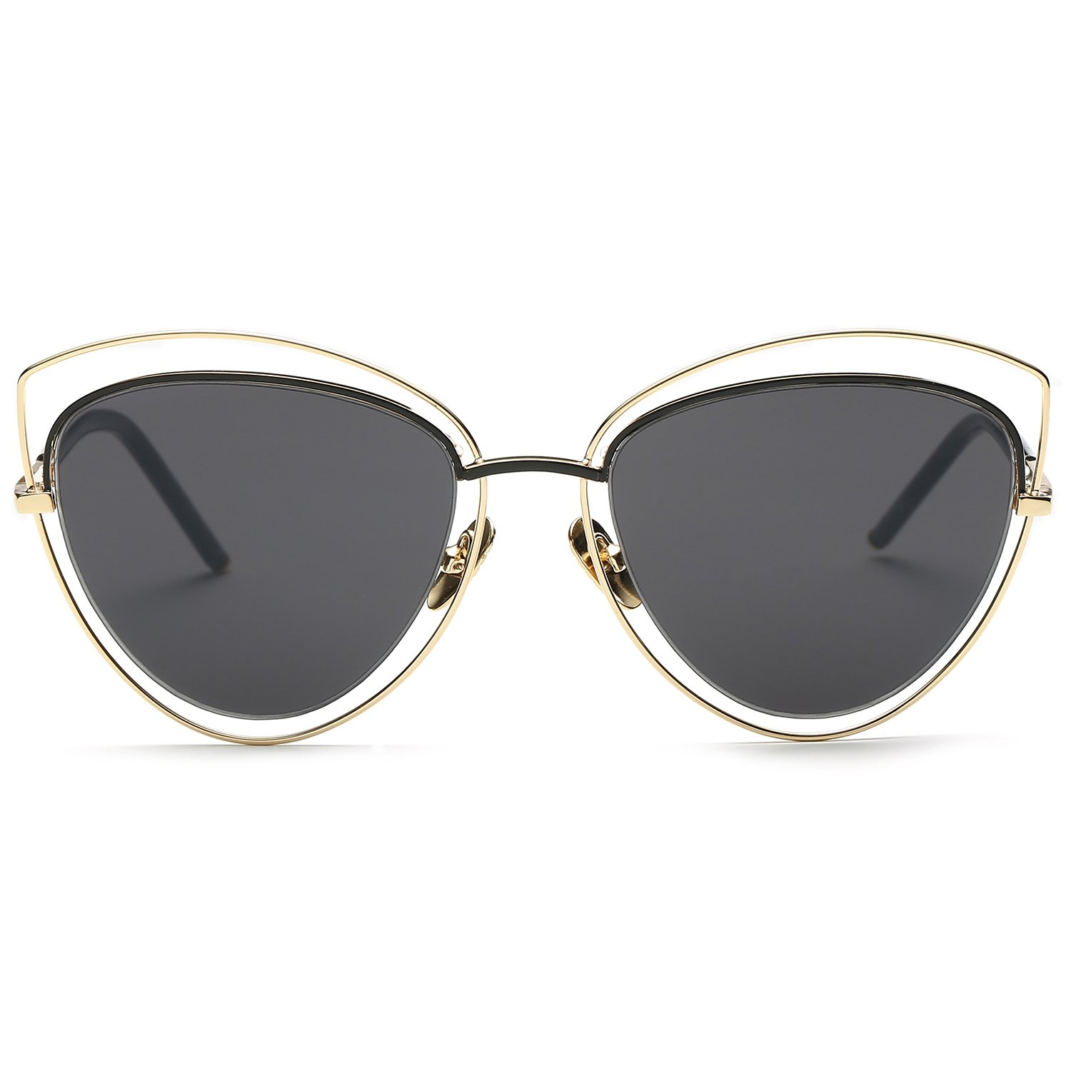 c34bef8ce3e SojoS Women s Double Wire Double Rimmed UV400 Cat Eye Sunglasses SJ1047  with Gold Frame Grey Lens  Amazon.in  Clothing   Accessories