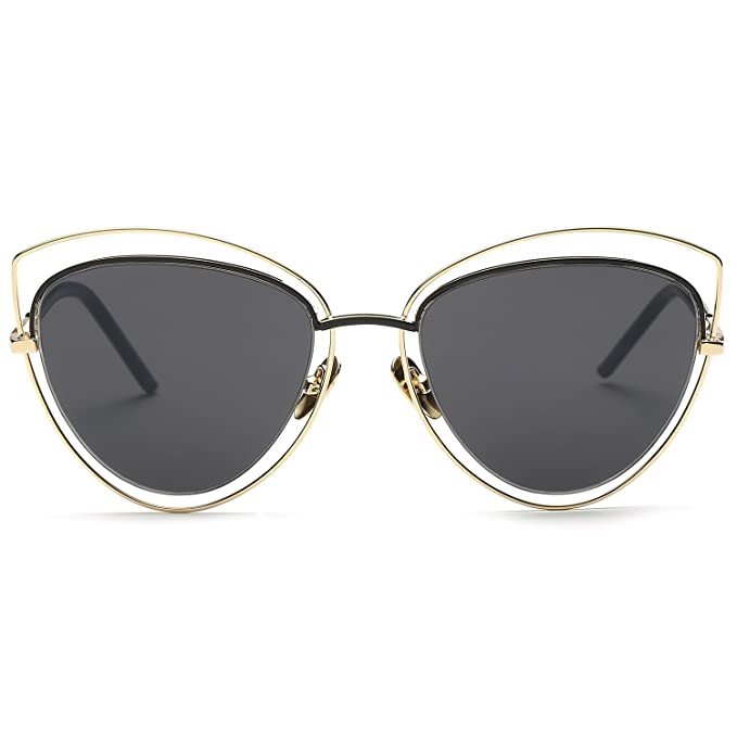 74fd0b4825 SojoS Women s Double Wire Double Rimmed UV400 Cat Eye Sunglasses SJ1047  with Gold Frame Grey