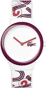ساعة لاكوست جوا للنساء مينا ابيض بسوار من السليكون - 2020127