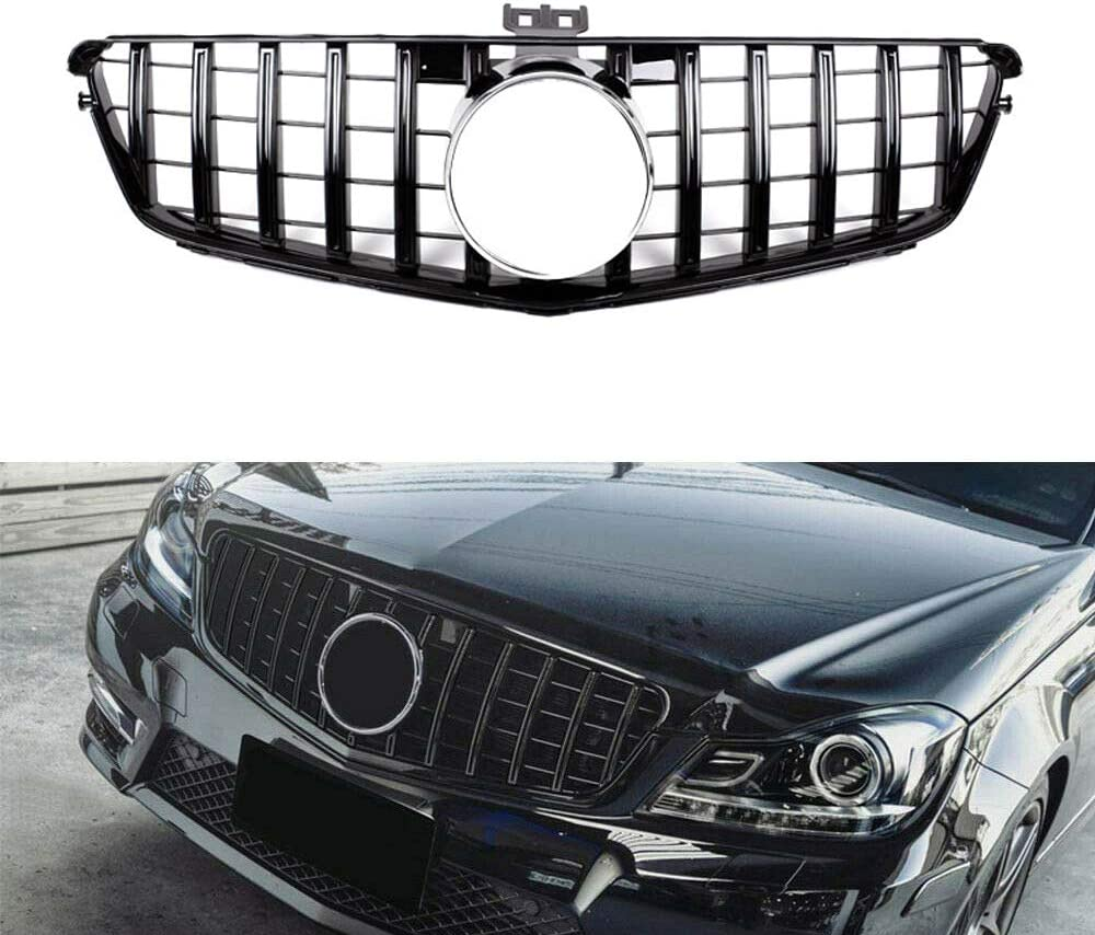 for W204 Chrome Silver GT R for Car Front Bumper Grill Grille for Mercedes for Benz C-Class W204 C200 C300 2008-2014 Front Grill
