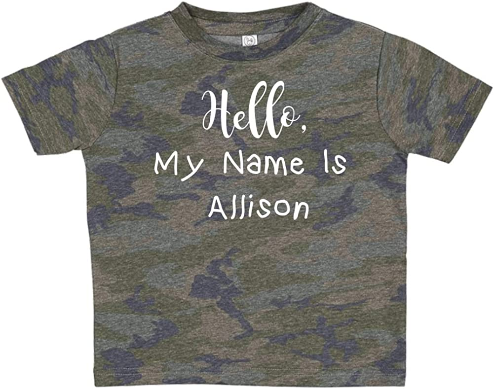 Mashed Clothing Hello Personalized Name Toddler//Kids Short Sleeve T-Shirt My Name is Allison