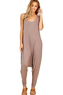45582f2a7df Annabelle Women s Comfy Rayon Solid Color Sleeveless Harem Jumpsuits with  Pockets