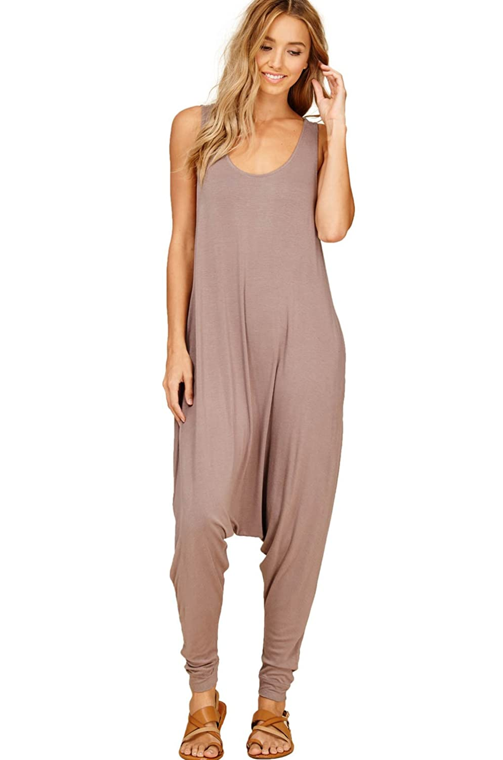 106dcce6fe18 Amazon.com  Annabelle Women s Comfy Rayon Solid Color Sleeveless Harem  Jumpsuits with Pockets  Clothing