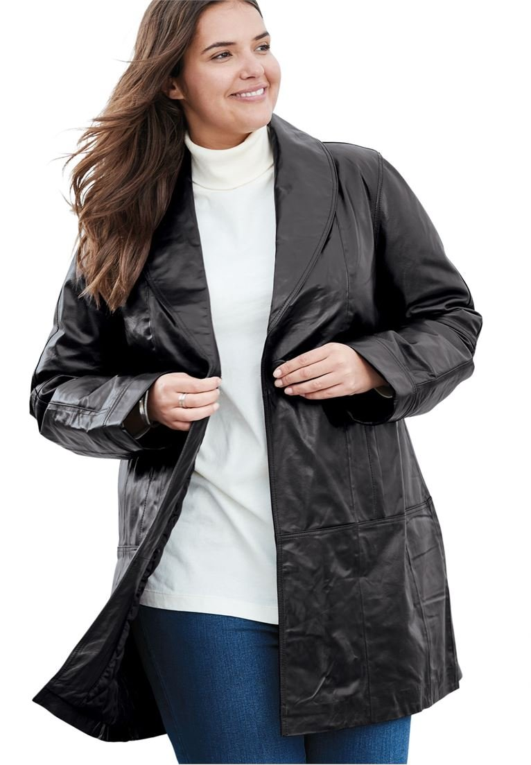 Women's Plus Size Coat, Swing Style In Leather Black,26 W by Woman Within