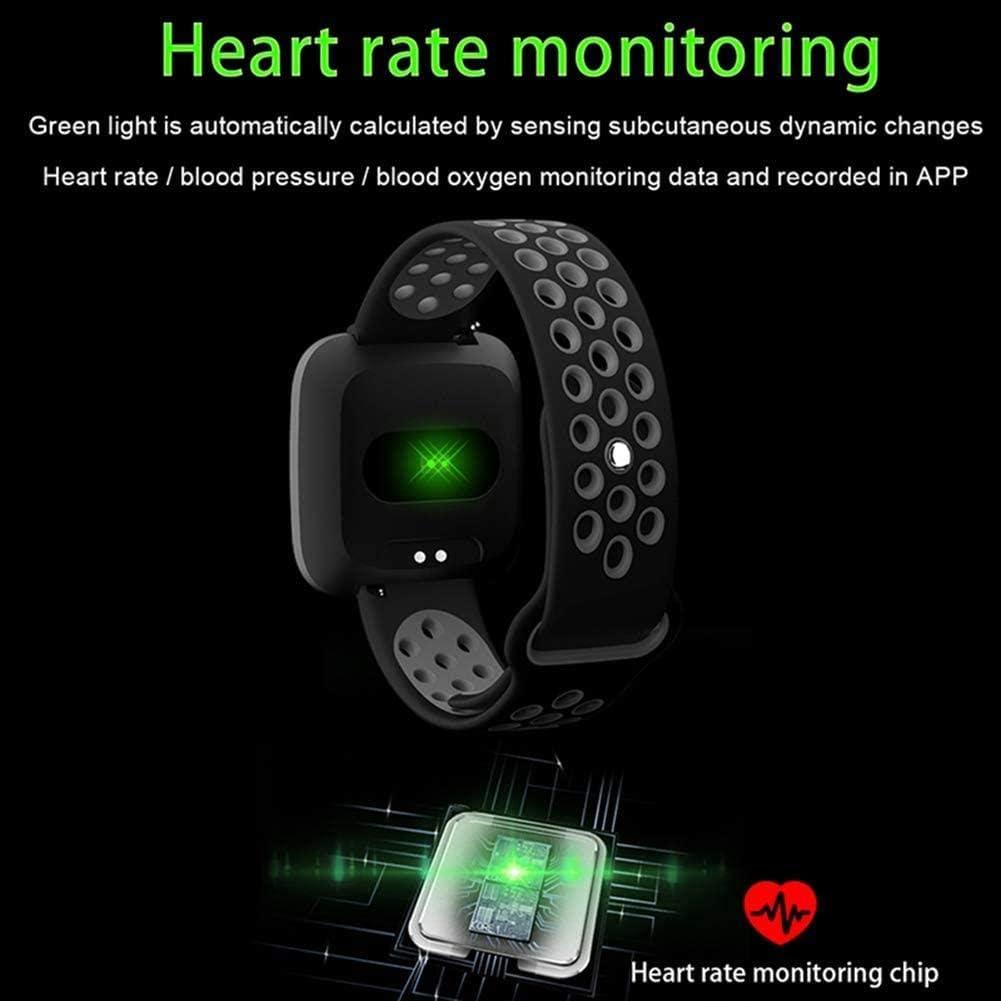 SmartWatch, Smart Belt frequenza cardiaca IP67 ossigeno pressione sanguigna istruttore di fitness stretto Double Top intelligente del cinturino di colore, Nero Rosso