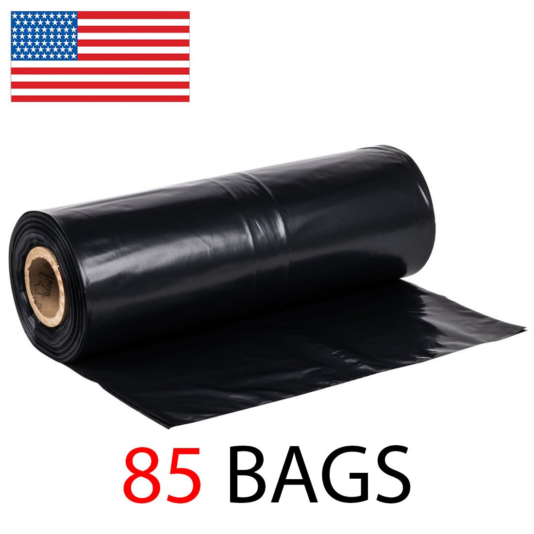 42 Gallon Roll of 85 Strong Contractor Bags on Roll, 2.75MIL Durable, Puncture Resistant, MADE IN USA, 37'' x 43